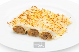 Canelons de Rostit amb bechamel i formatge - Precuinats Nova Gamma - Entrants