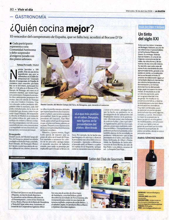 La Razón Gastronomía Abril 2008