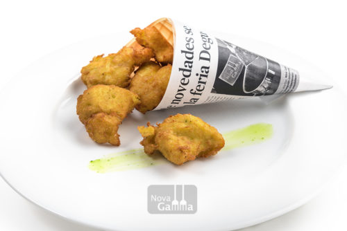Comprar Bunyols de Bacallà fregits sense gluten, tendres, sucosos i perfectes per a plats per a hostaleria o menjar a domicili, plats fàcils de cuinar.