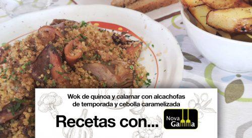 Wok de Quinoa y Calamar con Alcachofas de Temporada y Cebolla Caramelizada